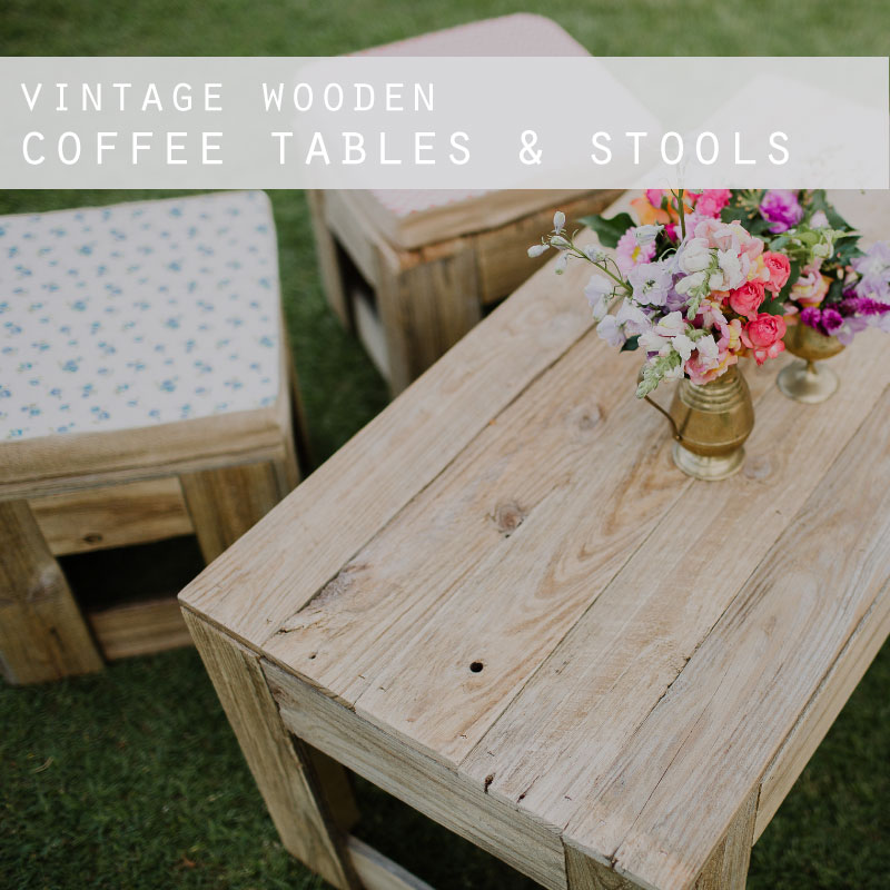 Vintage Wooden Coffee Tables & Stools